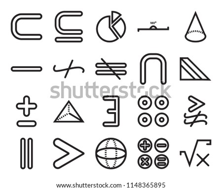 Set Of 20 simple editable icons such as Triangular prism, Sphere, Is greater than, Minus, not equal to, web UI icon pack, pixel perfect #1148365895