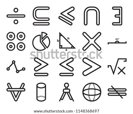 Set Of 20 simple editable icons such as Is a subset of, Sphere, There exists, Cylinder volumetric shape, For all mathematics, Square root of x, Cake graphic, web UI icon pack, pixel perfect #1148368697