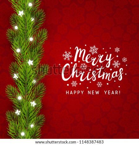 Greeting card with Christmas tree border #1148387483