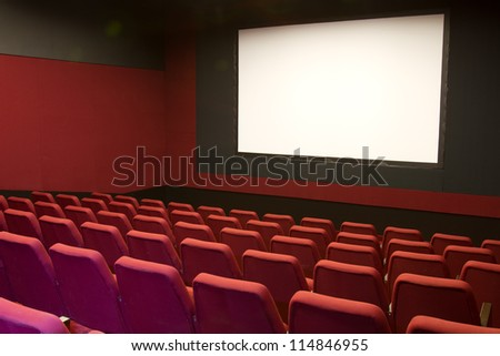 cinema and red seats rows empty screen #114846955