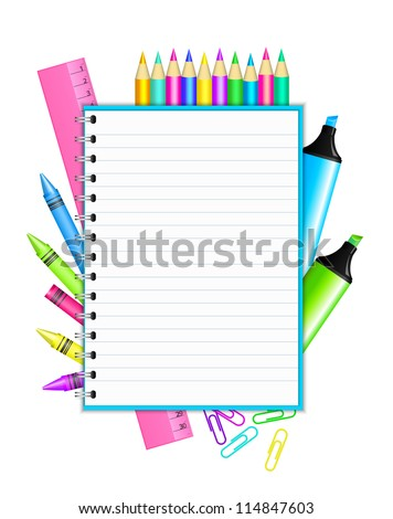"""""""Back to school """" - frame with colorful stationery"""