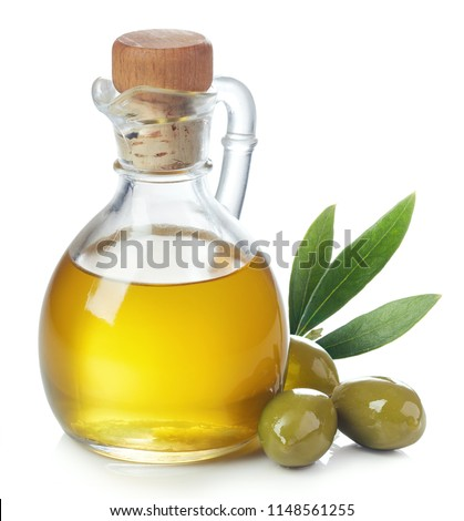 Bottle of fresh extra virgin olive oil and green olives with leaves isolated on white background #1148561255