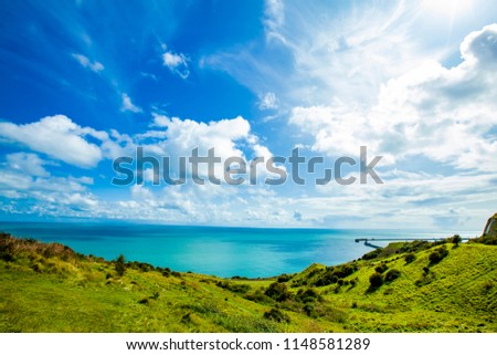 White Cliff of Dover and grassland England beautiful scenic landscape #1148581289