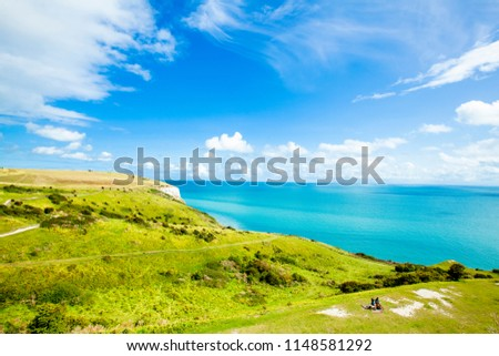 White Cliff of Dover and grassland England beautiful scenic landscape #1148581292