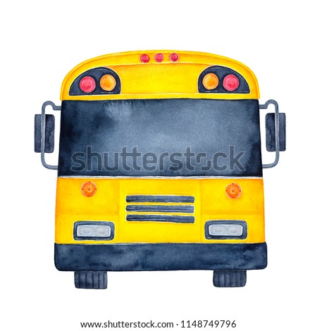 Bright yellow stylized city bus watercolour illustration. Black window can be used as mock up for your text. Hand painted water color sketchy graphic drawing on white, isolated clip art for design.