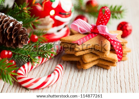 Christmas cookies with festive decoration #114877261