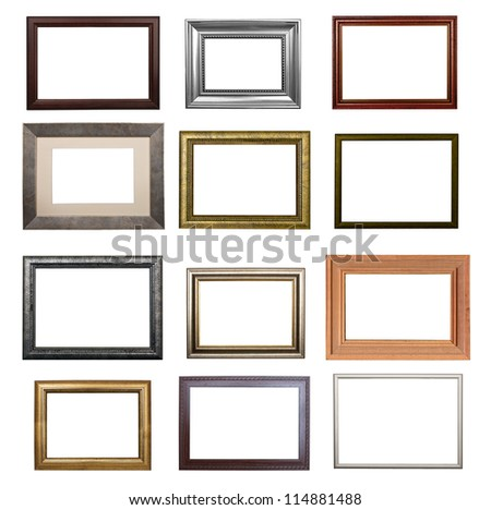 the set of frames isolated on white background