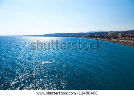 Beautiful seascape. Nice France wide angle view. #11488408