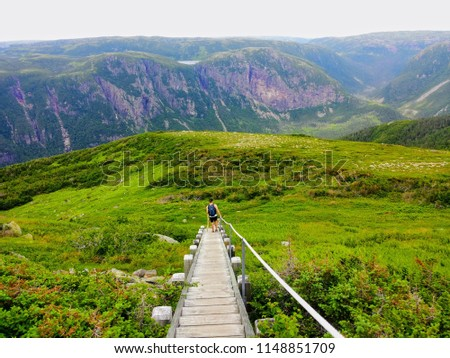 Hiking in beautiful Gros Morne National Park atop Gros Morne Mountain in Newfoundland and Labrador, Canada #1148851709