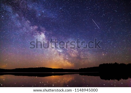 Landscape with Milky way galaxy. Night sky with stars. Royalty-Free Stock Photo #1148945000