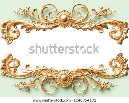 Vintage gold card with ornament decoration. 3D illustration