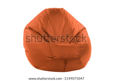 Side view of new soft enjoyable and adjustable colorful beanbag chair. Concept of comfortable indoor or outdoor contemporary furniture. Studio shot isolated on a white background with a clipping path #1149075047