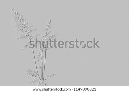 Textures of embossed leaves on background grey #1149090821
