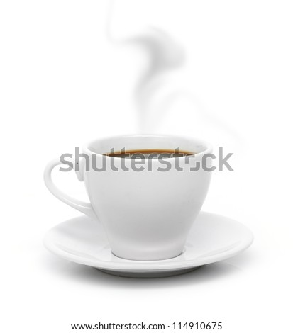 White coffee cup on plate with smoke isolated on white background. #114910675