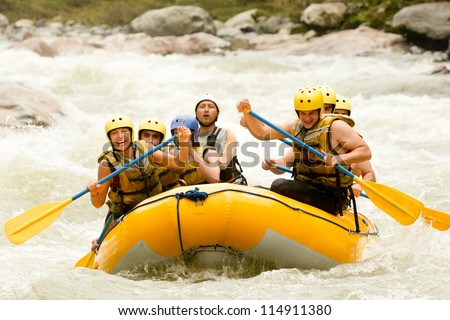 sport raft extrem water river white team adventure challenge group partnership of mixed pilgrim male and women with guided by specialist pilot on whitewater flow rafting in ecuador sport raft extrem w Royalty-Free Stock Photo #114911380