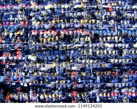Colorful fabric tweed texture, background. Closeup horizontal fragment