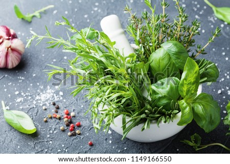 Fresh green garden herbs in mortar bowl and spices on black stone table. Thyme, rosemary, basil, and tarragon for cooking. Royalty-Free Stock Photo #1149166550