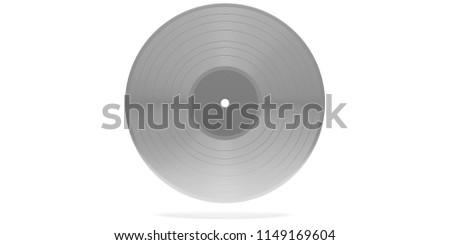 Vintage silver vinyl record album LP isolated, on white background. 3d illustration #1149169604