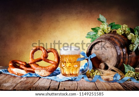 Beer Mug With Pretzel And Bavarian Decoration #1149251585