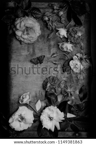 black and white photos with flowers