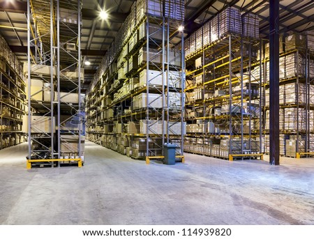 Interior of new large and modern warehouse space #114939820