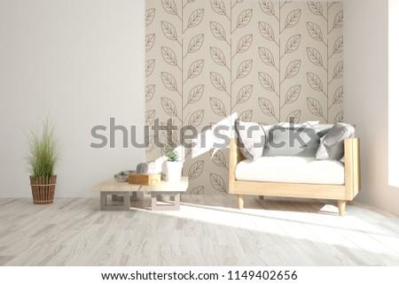 White modern room with armchair. Scandinavian interior design. 3D illustration #1149402656