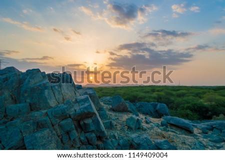 Sunrise frame from the Arabian desert of Jeddah at Saudi Arabia #1149409004