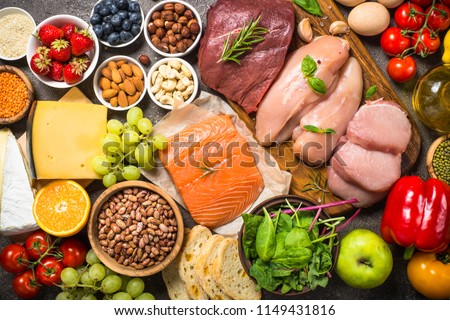 Balanced diet food background.  Royalty-Free Stock Photo #1149431816