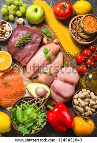 Balanced diet food background.  #1149431843
