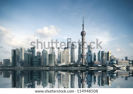 shanghai skyline with reflection,China