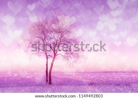 Double exposure of heart shaped lights and winter landscape with alone tree. #1149492803