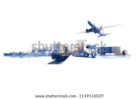 Transportation, import-export and logistics concept, container truck, ship in port and freight cargo plane in transport and import-export commercial logistic, shipping business industry  #1149516029