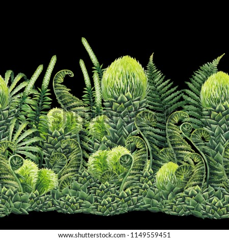 Watercolor prehistoric plants. Hand painted seamless exotic border #1149559451