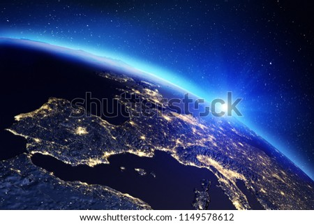 Planet Earth sunrise. Elements of this image furnished by NASA. 3d rendering #1149578612