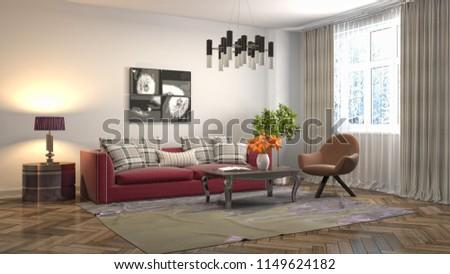Interior of the living room. 3D illustration #1149624182
