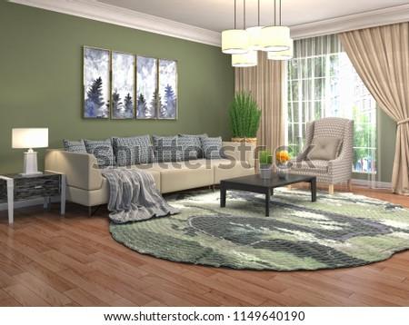 Interior of the living room. 3D illustration #1149640190
