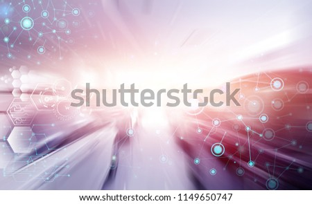 blurry car speed background, transportation and digital concept