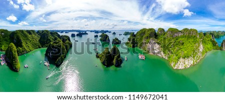 Super panorama Karst Island Landscape In Halong Bay, Vietnam. High quality image from above (drone) Royalty-Free Stock Photo #1149672041