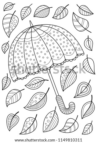 Doodle coloring book page umbrella and leaves. Antistress coloring for adults and children