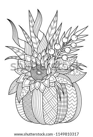 Vector doodle coloring book page pumpkin with flower composition. Anti-stress for adults and children