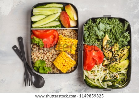 Healthy meal prep containers with quinoa, avocado, corn, zucchini noodles and kale. Takeaway food. White background, top view. #1149859325