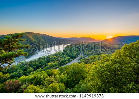 Sunset view of the Potomac River, from Weverton Cliffs, near Harpers Ferry, West Virginia. #1149919373