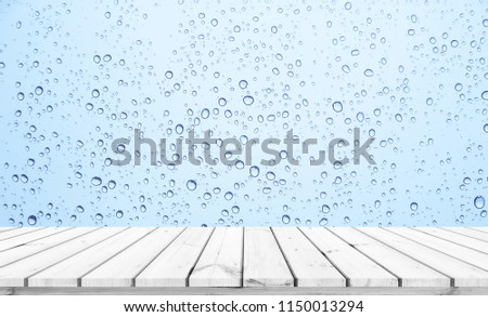 Wood plank with abstract water drop on glass background for product display  #1150013294