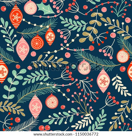 Christmas seamless pattern for greeting cards, wrapping papers. Hand drawn Vector illustration.