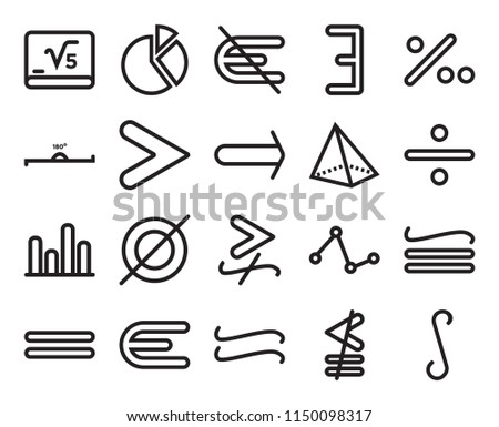 Set Of 20 simple editable icons such as Integral, Divide, Percent for hund, There exists, Equal, Cake graphic, Line 180 degrees angle, web UI icon pack, pixel perfect #1150098317