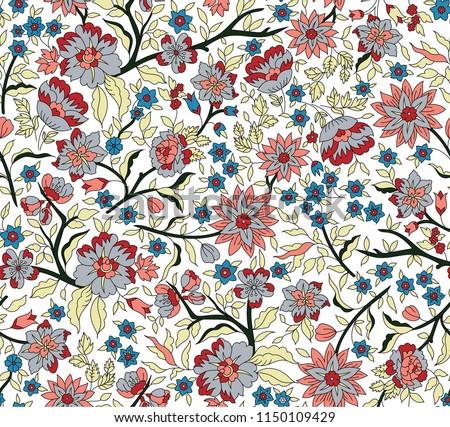 cute vector stock flowers pattern #1150109429