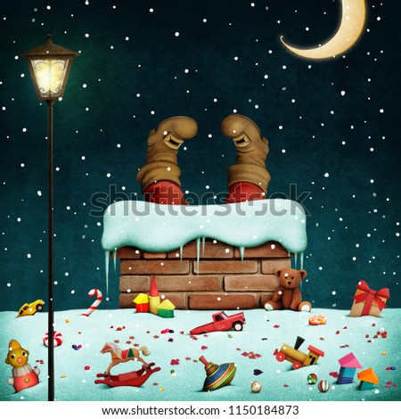 Fantasy illustration or greeting card for Christmas holiday with snow  roof and legs of Santa Claus.