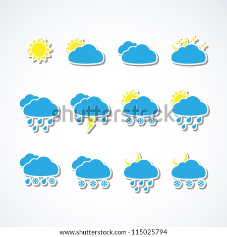 Set of Weather web icons. Vector illustration. #115025794