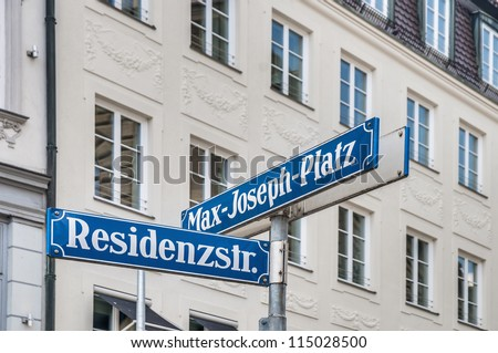 Max-Joseph-Platz square street sign in Munich, Germany #115028500