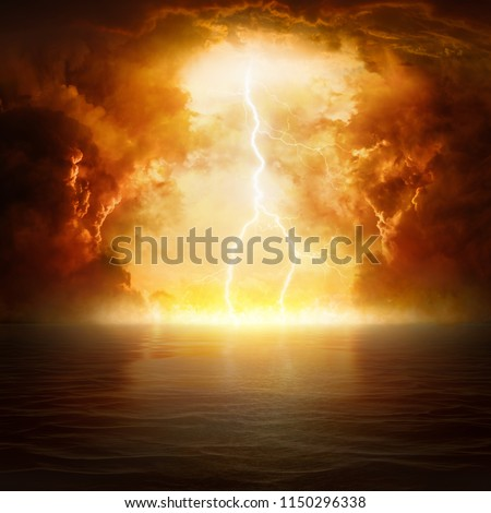 Apocalyptic religious background - hell realm, bright lightning in dark red apocalyptic skies, judgement day, end of world, eternal damnation Royalty-Free Stock Photo #1150296338